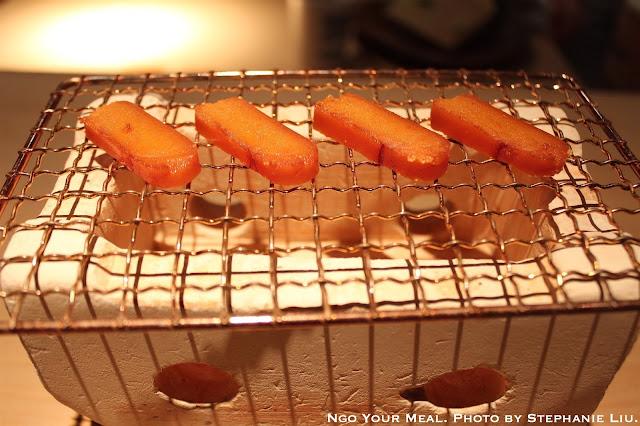 Karasumi Marinaded in Sake, Salted, and Sun Dried at NAOE