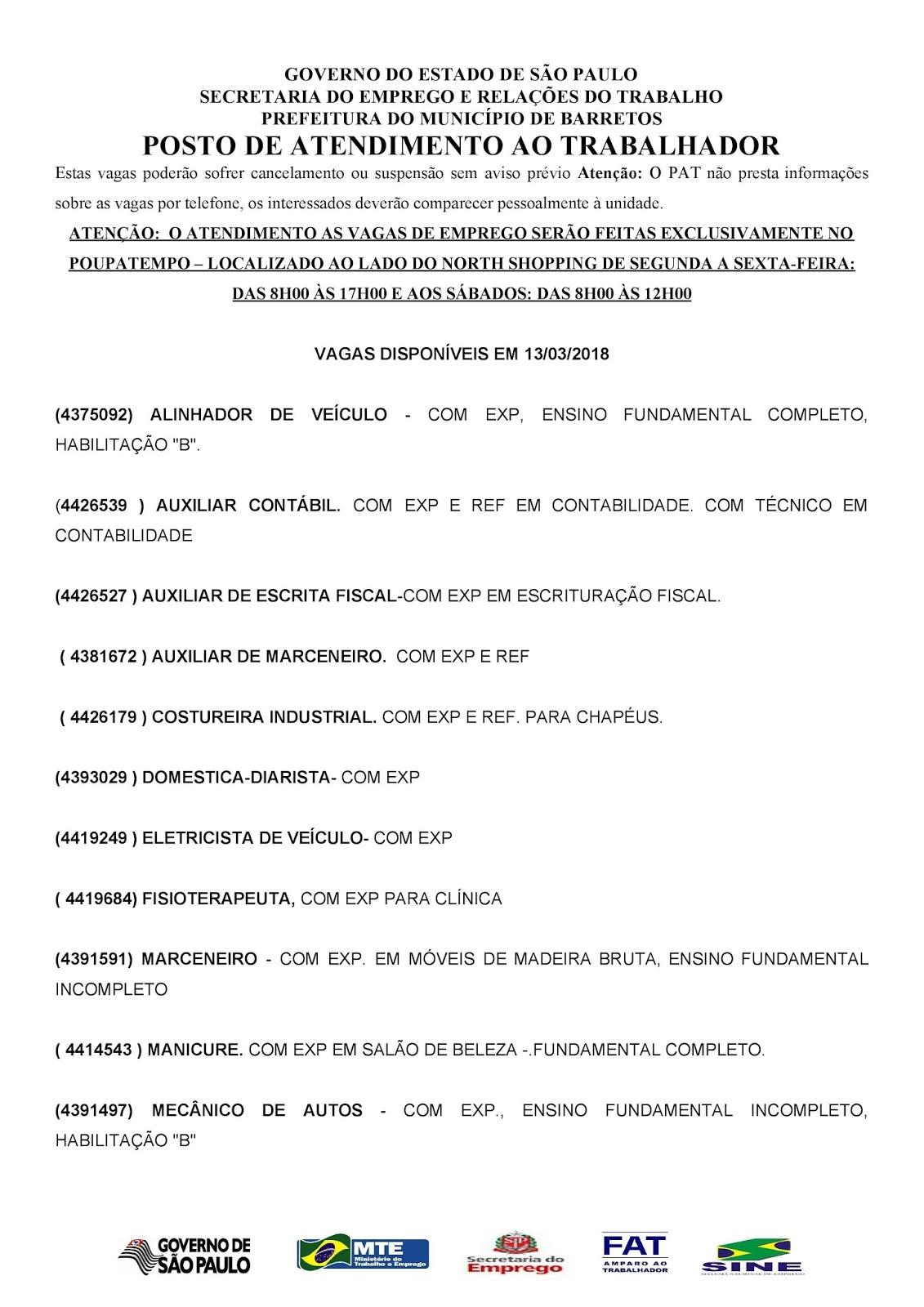 VAGAS DE EMPREGO DO PAT BARRETOS-SP PARA 13/03/2018 TERÇA-FEIRA - PARTE 1