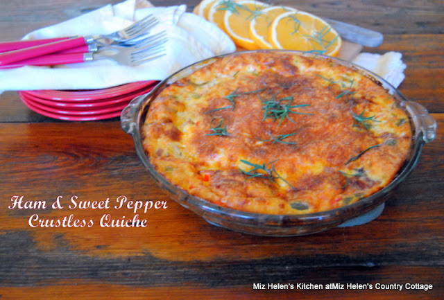 Ham and Sweet Pepper Crustless Quiche at Miz Helen's Country Cottage