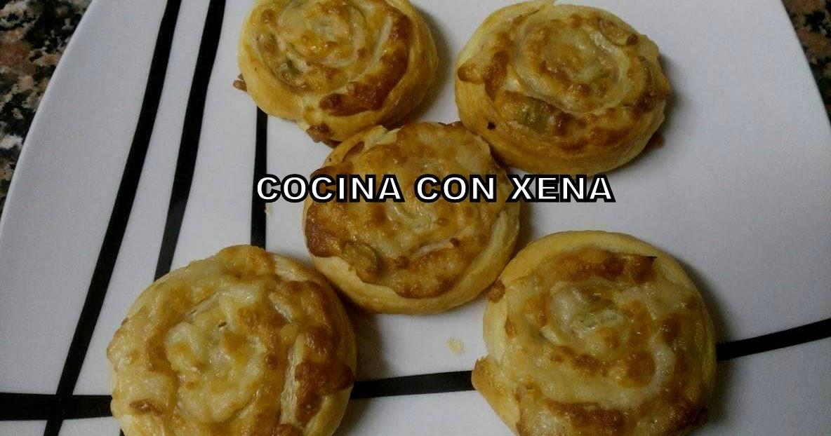 COCINA CON XENA Espirales de Hojaldre con pavo y queso
