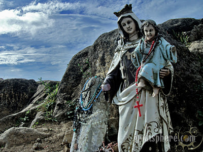 Statue of Virgin Mary with Baby Jesus at the peak of Mt. Batulao