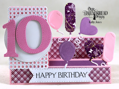 Our Daily Bread Designs Stamp Set: Celebration, Custom Dies: Side Step Card, Large Numbers, Balloons and Streamers, Circle Scallop Rectangles, Double Stitched Pennant Flags, Pierced Circles, Paper Collections: Plum Pizzaz, Whimsical Wildflowers