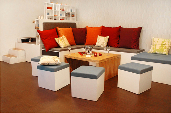 All in one furniture set for urban living compact living room