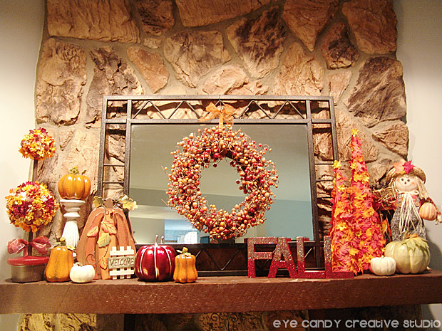 fall mantel decorated for fall, autumn mantel decor, fall home decor