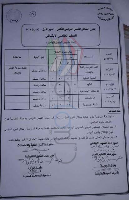 جدول امتحانات الصف الخامس الابتدائي 2017 الترم الثاني محافظة المنوفية