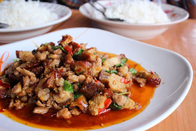 Stir fried pork and basil