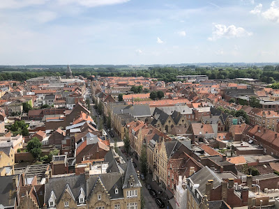 Aerial view of Ypres from the Cloth Hall