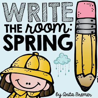 Write the Room literacy center activity with a spring theme