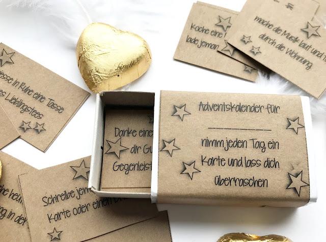 mit Strich und Faden: Adventskalender in Streichholzschachtel
