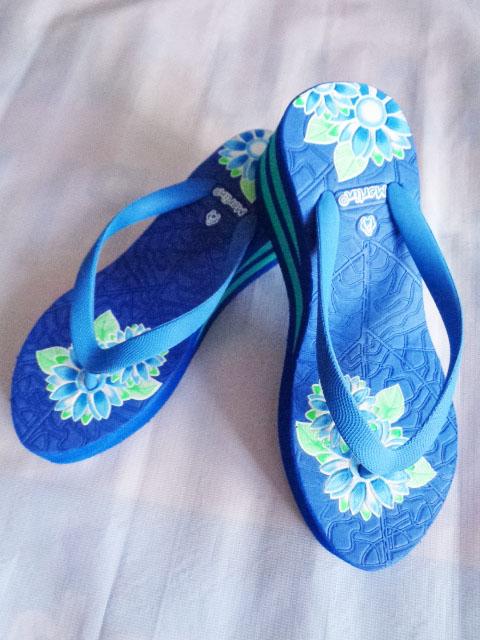 Sandal Merlin ASLI Spon IMPORT Tebal Print biru
