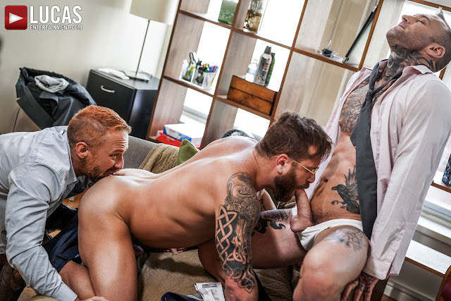 LucasEntertainment - RILEY MITCHEL SERVICES HIS BOSSES DYLAN JAMES AND DIRK CABER