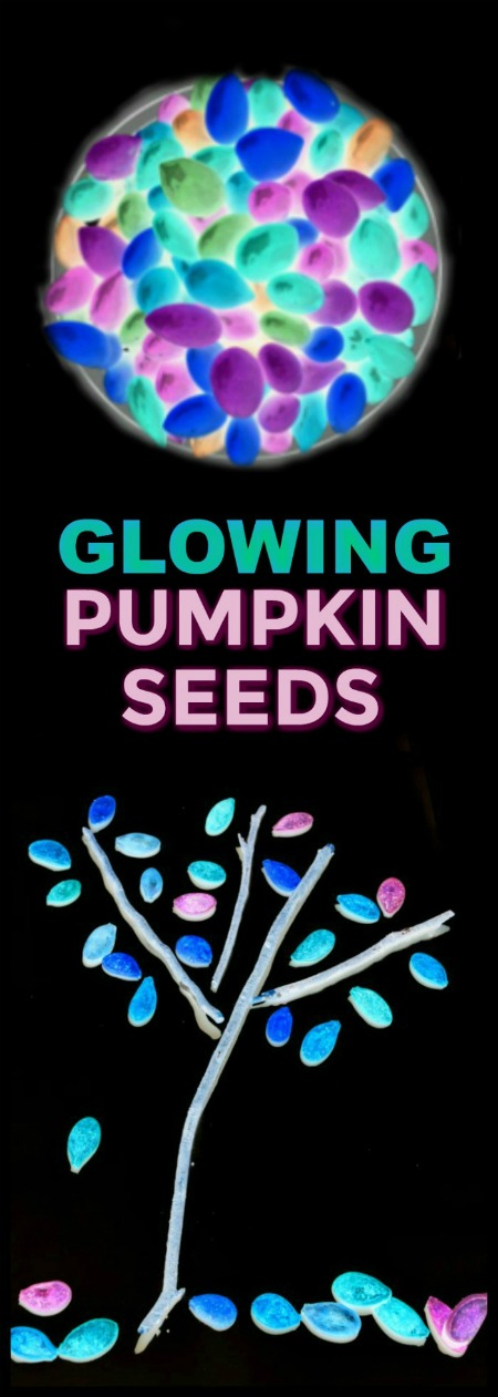 FUN KID PROJECT:  Make glow-in-the-dark pumpkin seeds for arts, crafts, & PLAY!