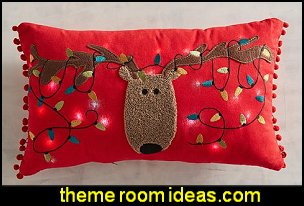 LED Light-Up Reindeer Musical Lumbar Pillow    Christmas decorating ideas - Christmas decor - Christmas decorations - Christmas kitchen decor - santa belly pillows - Santa Suit Duvet covers - Christmas bedding - Christmas pillows - Christmas  bedroom decor  - winter decorating ideas - winter wonderland decorating - Christmas Stockings Holiday decor Santa Claus - decorating for Christmas - 3d Christmas cards - xmas tree decor