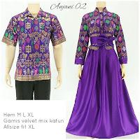 Batik Sarimbit Gamis Anjani2 ungu