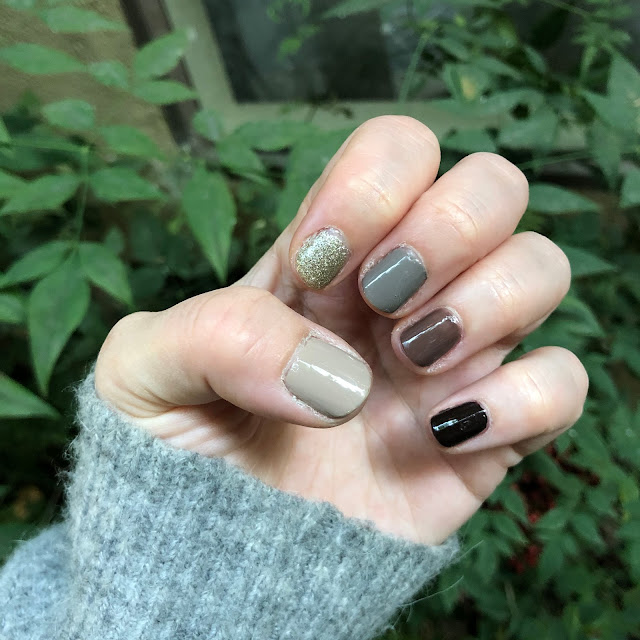 Essie, multicolor manicure, ombré manicure, #ManiMonday, nails, nail polish, nail lacquer, nail varnish, Essie Hot Coco, Essie Chinchilly, Essie Jazz, Essie Partner in Crime, Essie Beyond Cozy, Skittle nails, The Beauty of Life, Jamie Allison Sanders