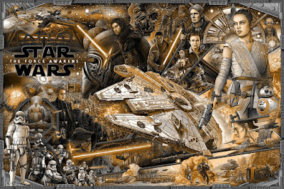 New York Comic Con 2016 Exclusive Star Wars: The Force Awakens Gold Variant Screen Print by Ise Ananphada x Bottleneck Gallery