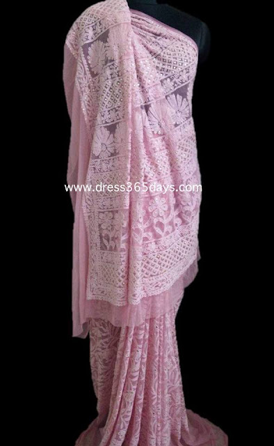 unique wedding saree - Chikankari Embroidery