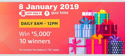 Amazon Quiz Contest 8 January : Answer the Questions and Win 5000 Amazon pay balance