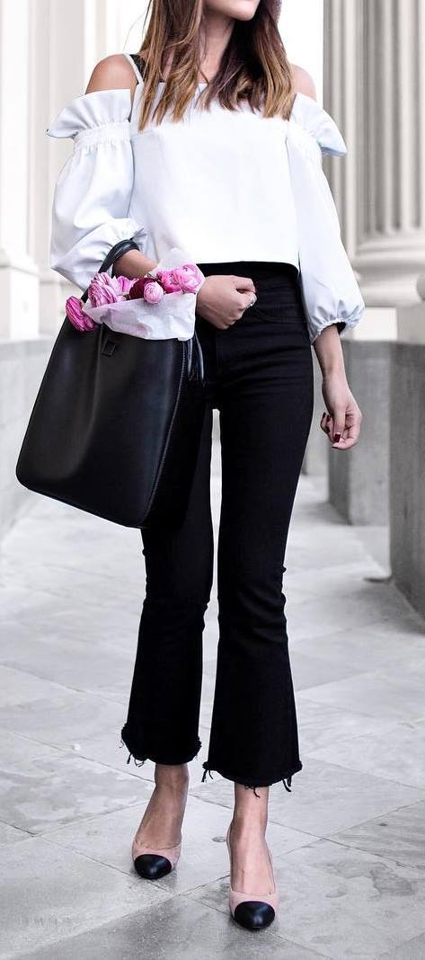 Black and white outfit idea: top + bag + pants