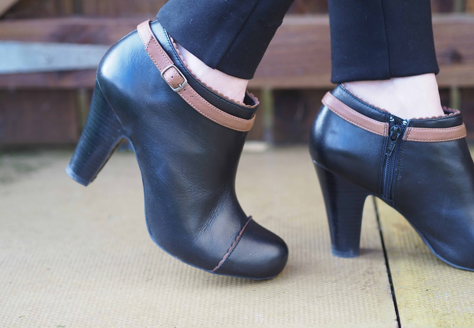 Lotus black and tan ankle boots