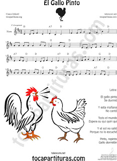 Horn Sheet Music for El Gallo Pinto The Painted Rooster Popular Children Music Scores