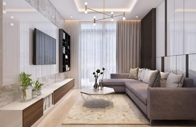Thiết kế chung căn hộ Sơn Trà Ocean View 1 phòng ngủ - Phòng Khách