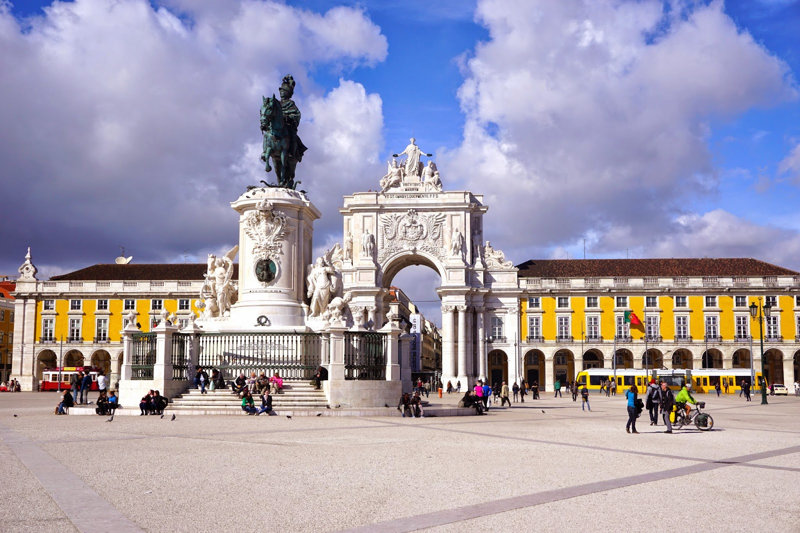The yellow walls of Praca Do Comercio in Lisbon