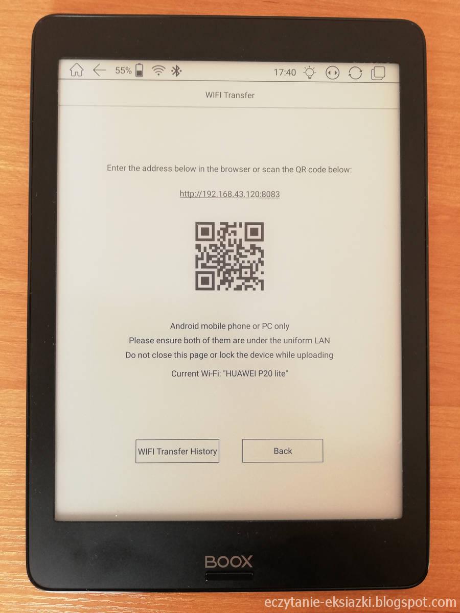 Aplikacja WiFi Transfer w Onyx Boox Nova umożliwia bezprzewodowe przesyłanie plików na czytnik