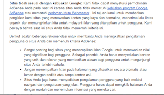 apa yang harus dilakukan jika situs tidak sesuai kebijakan adsense