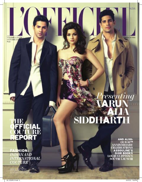 Varun, Alia and Siddharth on the cover of L'Officiel