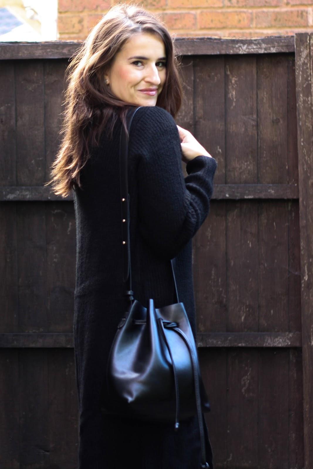 Long black cardigan & bucket bag