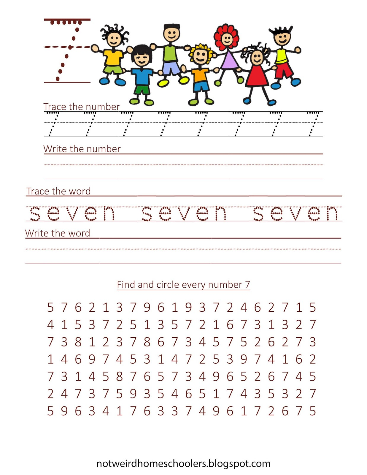 Free Homeschooling Resource Trace N Write Numbers