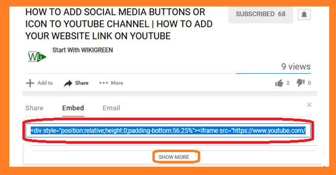 showmore button in youtube video