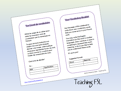Image of French and English bilingual printable instruction page for a Personal Dictionary notebook by Teaching FSL