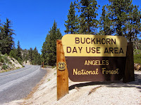 Buckhorn Day Use Area sign on Angeles Crest Highway, Hwy 2