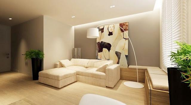 desain ruang keluaga dengan sofa minimalis
