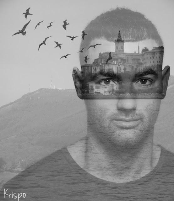 retrato surrealista de doble exposicion en blanco y negro