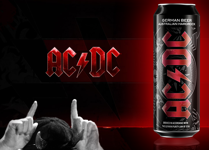 horns up rocks the ac dc premium lager beer has arrived. Black Bedroom Furniture Sets. Home Design Ideas