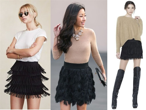 black fringe mini skirt