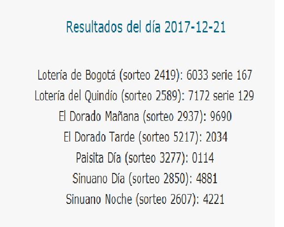 Como jugo la lotería anoche   Resultados diarios de la lotería y el chance   resultados del dia 21-12-2017