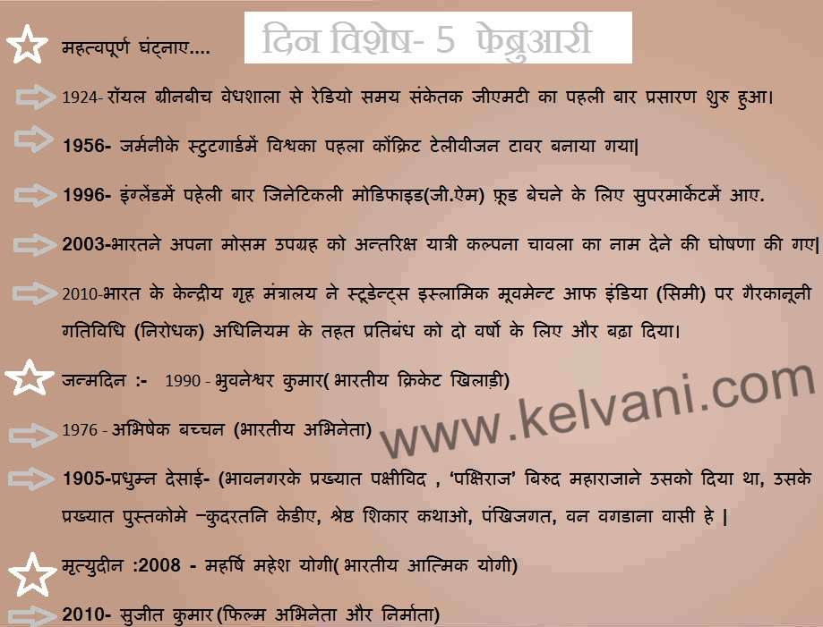 DIN VISHESH IN HINDI LANGUAGE, 5 FEBRUARY, THIS DAY IN HISTORY