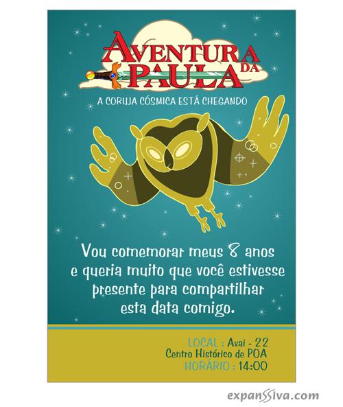 Padrões convite hora de aventura personalizado online