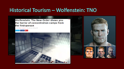 "Title: Historical Tourism - Wolfenstein: TNO. This slide features multiple images overlaid on top of one another as the text is read. The first image shows the protagonist, BJ, in four forms over the history of the franchise. The next is a scene from the hallway of the concentration camp with the two HUD icons mention in the text at the bottom of the screen. The last is a screenshot of a webpage from Polygon.com with the title ""Wolfenstein: The New Order shows you the horror of concentration camps from the first-person"" and has an image of a title floor with large grates on the bottom and jail cell bars for walls."