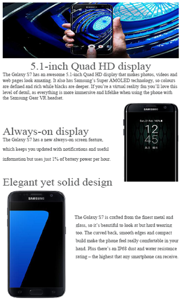 Samsung Galaxy S7, Design and display / Brand Map