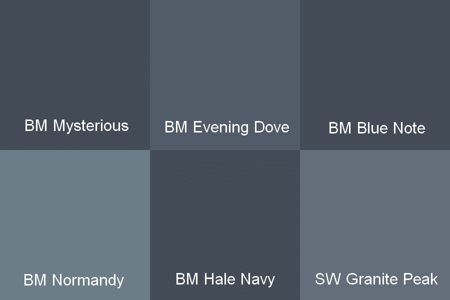 At First Glance My Top Contenders For Paint Were Benjamin Moore Mysterious Evening Dove Blue Note Normandy And Hale Navy Sherwin Williams