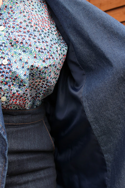Lining of Denim Trench, Boden Shirt, Warehouse Skirt   Petite Silver Vixen