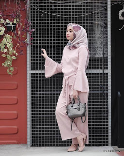 model Celana Kulot Warna Pink cewek hijabers