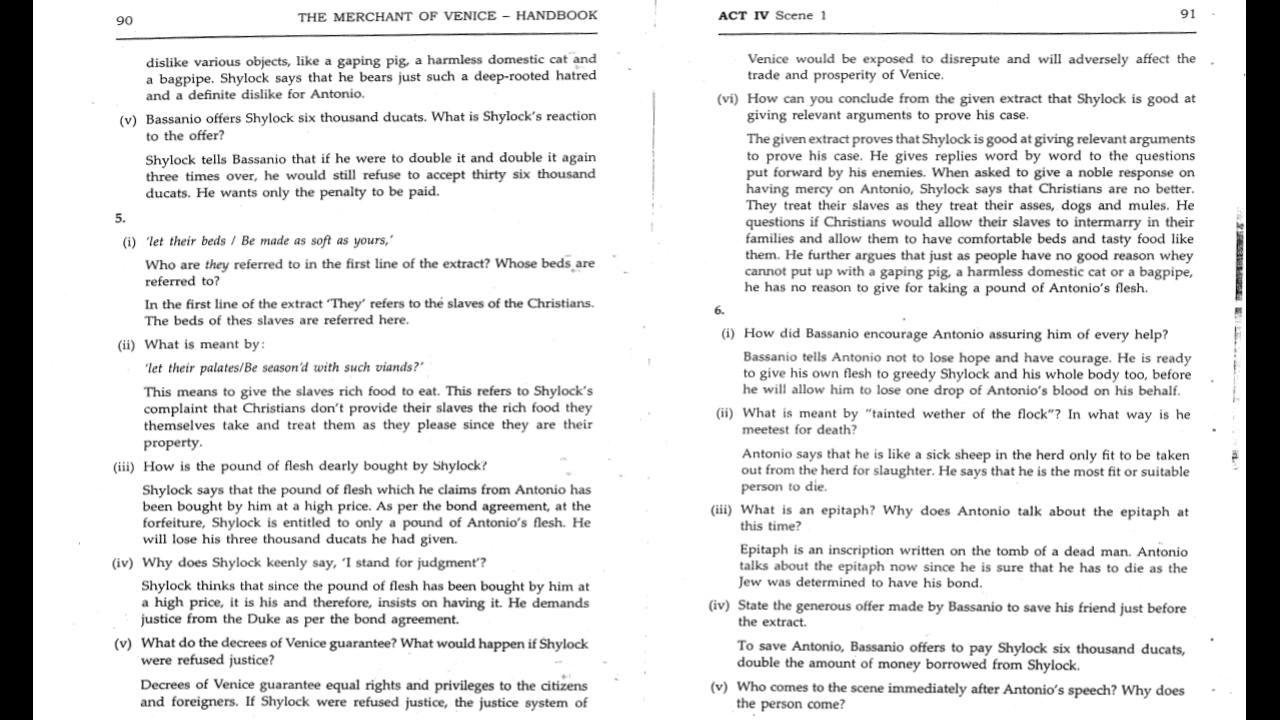 The Merchant Of Venice Workbook Answers -15 - ICSE HUB