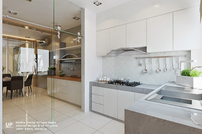La Garden double storey terrace white color wet kitchen with full height clear glass that separate the dining area