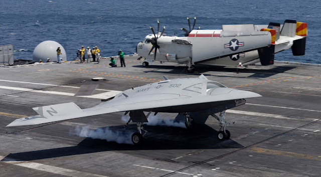 Northrop Grumman X-47B While Touching Down on Carrier